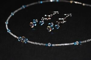 Handmade Jewelry Set Silver Turquoise Clear Swarovski Crystal~ Necklace earrings