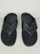 Fitflop Women's Shoes Twiss Black Leather  Wedges Thong Sandals Size 9