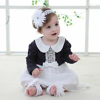 Baby Toddler Girl Wedding Party Dress Winter Ruffle Lace Clothes Romper OnePiece