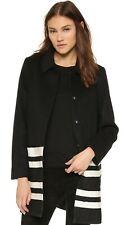 Scotch & Soda Maison Scotch Coat Jacket Contrast Stripes Black White Wool S