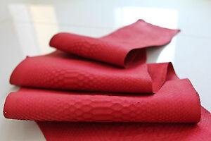 Genuine Reticulated Curtus Python Leather Hide Snake Skin Pelt Red