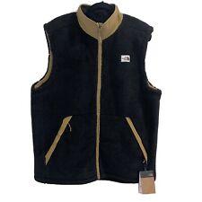 NWT Men's The North Face Campshire Sherpa Fleece Vest Black Khaki XL MSRP $99