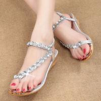 US Women's Summer Casual Beach Bohemian Sandals Rhinestone Shoes Flat Flip Flops
