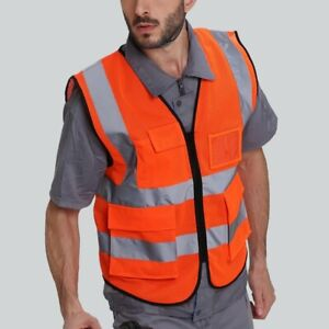 Safety Reflective vest Protective Fluorescent Gear Breathable Mesh Cloth