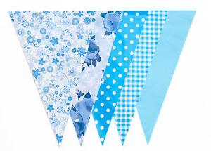 Blue Floral Bunting 20 Flag 10m Rose Gingham Bridal Baby Shower Vintage Party