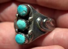 Handmade Old Pawn Fancy Navajo Sterling Silver & Sky Blue Turquoise Stones Ring