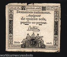 FRANCE 1/15 ASSIGNAT / SOLS 1790 UNIQUE PICTORIAL BILL CURRENCY FRENCH NOTE