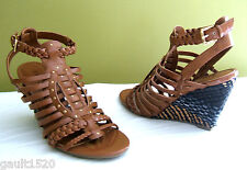 NEW Guess Designer Sexy Schyler Strappy Braided Wedges Faux Leather Sandals 7.5M