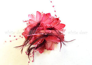 Wholesale Lady Feather Flower Brooch Pin Bridal Party Hair Holder Headdress Bead