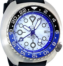 "Swiss GMT movement Diver watch with Big 49mm Turtle case MOP dial ""BATMAN"" bezel"