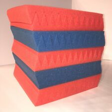 10 pcs Blue and Red Acoustic Foam Panel Tile Wall Studio Sound Proof 12x12x1