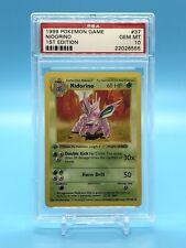Nidorino 1999 Pokemon First Edition 1st Shadowless Base Set 37 Gem Mint PSA 10