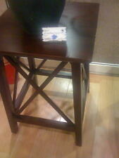 Criss Cross End Table Side Espresso Wood French Country Furniture Craftsman NIB