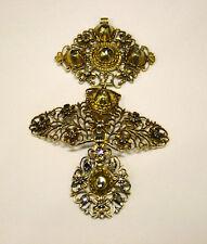 antique 18th century  cross pendant  à la Jeannet 18K gold rose cut diamonds