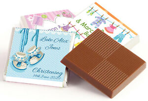 50 PERSONALISED CHOCOLATE FAVOURS CHRISTENING, BABY SHOWER, BIRTHDAY & MORE