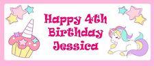 PAESAGGIO personalizzati Party Banner-Pink Unicorn & CAKE-Aggiungi il tuo messaggio