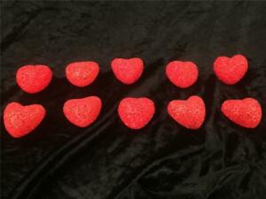 Red Hearts Party Light Covers Vintage Valentine's Day  PLASTIC CHIPS Set Lot  10