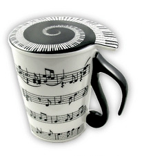Sheet Music Mug with Lid - Music Themed Gift - Musical Mug - Gifts for Musicians