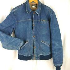 Vintage Wrangler Jean Jacket Mens Lined Denim USA Made Trucker Blue Sz 38 Small