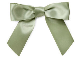 """12 Moss Green Pre tied Satin Ribbon 3"""" Bows Twist Ties All Occasion Crafts Gifts"""