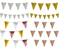 Metallic Rose Gold Silver Bunting Birthday Wedding Anniversary Party Decoration