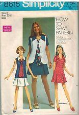 8615 Vintage Simplicity Sewing Pattern Misses Dress Vest Tie How to Sew OOP SEW
