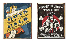 Set of 2 Vintage-Style Signs - One Eyed Jack's Tavern, Bar, Man Cave, Office
