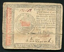 JANUARY 14, 1779 $45 FOURTY FIVE DOLLARS CONTINENTAL CURRENCY