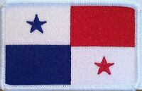 Panama Flag Iron-On Patch Central America Tactical Military Emblem White Border