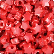 50 Red Opaque Star Shape 13mm Pony Beads Top Quality Beads