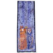 New LAUREL BURCH 100% Pure Silk SCARF Wrap Throw AUTUMN FELINES Purple Cats