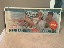 """1962 Coca Cola Doublesided Sign Cardboard Poster 56.5"""" X 27.5"""" Vintage Zing"""