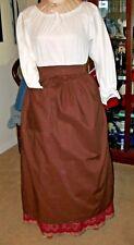 Civil War Dress Victorian Colonial Lady'S Brown 100% Cotton Wrap Around Apron