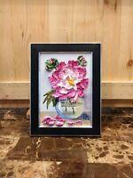 Peony flower Framed Original Textured oil painting Floral still life #04-252