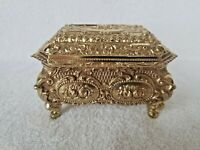 Vintage Gold Tone Japan Trinket Box Ornate Container EUC
