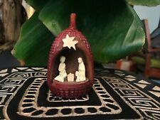 Crèche de Noël pomme de pin 5 santons étoile du berger en bois de rose