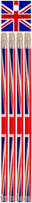 Pack of 4 Union Jack Pencils with Erasers Rubbers British Stationary Party Bag