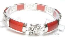 "7.5"" 6 PC RED JADE 18K WGP BRACELET W/ SYMBOL"