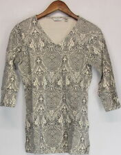 V Neck Paisley 3/4 Sleeve Casual Tops & Shirts for Women