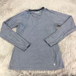 Smartwool Women's M Gray Striped 150 Merino Blend Long Sleeve Base Layer FLAWS