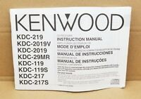 Kenwood KDC-219 CD Receiver Instruction Manual Booklet FREE SHIPPING