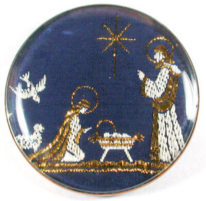 Vintage Watch Crystal Studio Button with Fabric Nativity Image 1 & 3/4""