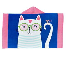 "POTTERY BARN Kids Girls 50""x30"" Cool Cat Beach Pool Towel Wrap Hooded *No Mono*"