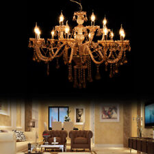 Cognac 15 Arms Crystal Candle Chandelier Pendant Lamp Ceiling Fixtures E12 Lamps