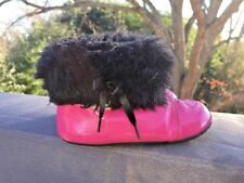 ROBEEZ Diva Boots Chukka PINK & BLACK Faux FUR Girls Toddler Shoe Sz 12 24 Month
