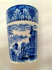 More details for antique cauldon blue + white chariot pattern beaker,cup.4 inches tall.1920s.vgc.