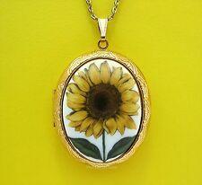 Porcelain Big YELLOW SUNFLOWER CAMEO Costume Jewelry Locket Pendant Necklace