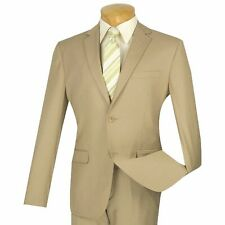 VINCI Men's Beige 2 Button Ultra Slim Fit Suit NEW