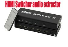 HDMI 4x1 HIFI Switch Toslink Coaxial Stereo Audio V1.3b w/remote&power adapter