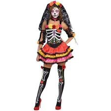 Womens Day Of The Dead Senorita Skeleton Halloween Fancy Dress Costume Size10-12